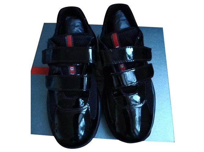 Baskets enfant Prada Sneakers Cuir vernis Noir ref.165202