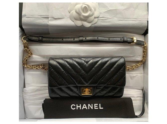 Sacs à main Chanel Sac banane Chanel Bum Cuir Noir ref.165218