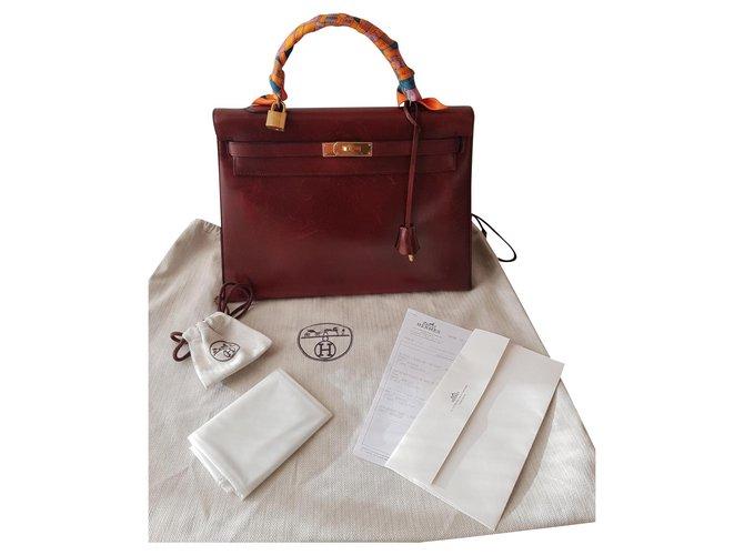 Hermès Kelly 35 Handbags Leather Dark red ref.165331