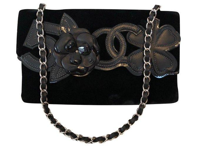 Sacs à main Chanel Chanel Velours Noir ref.165534