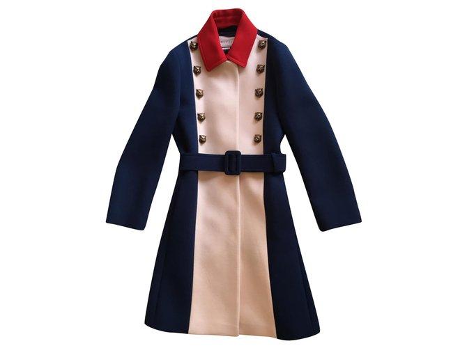 Manteaux Gucci Manteau trench Laine Bleu ref.165556