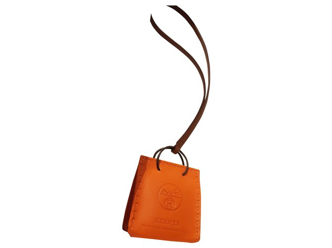 Bijoux de sac Hermès Hermes charm shopping bag Cuir d'agneau Orange,Marron clair ref.165568