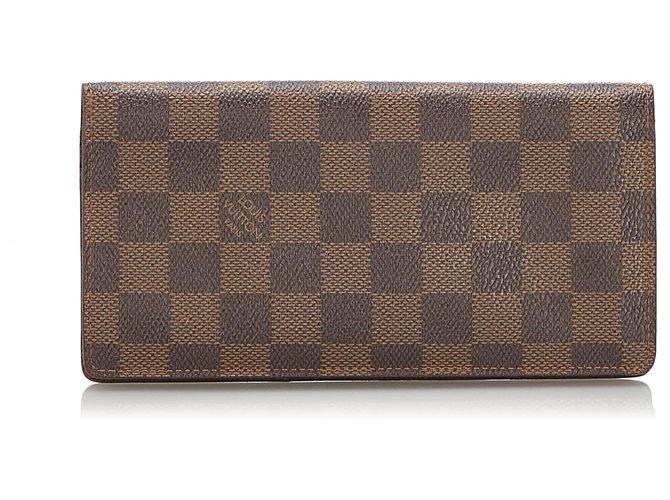 Décoration divers Louis Vuitton Louis Vuitton Brown Damier Ebene Brazza Portefeuille Cuir,Autre,Toile Marron ref.165613