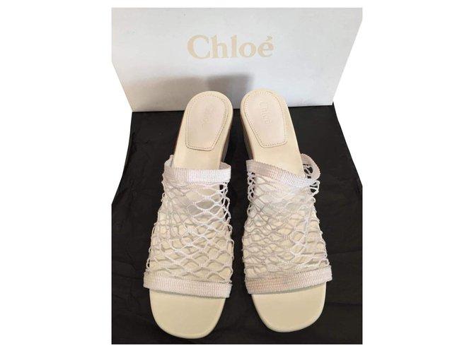 Chloé Sandals Sandals Leather,Cloth White ref.165742