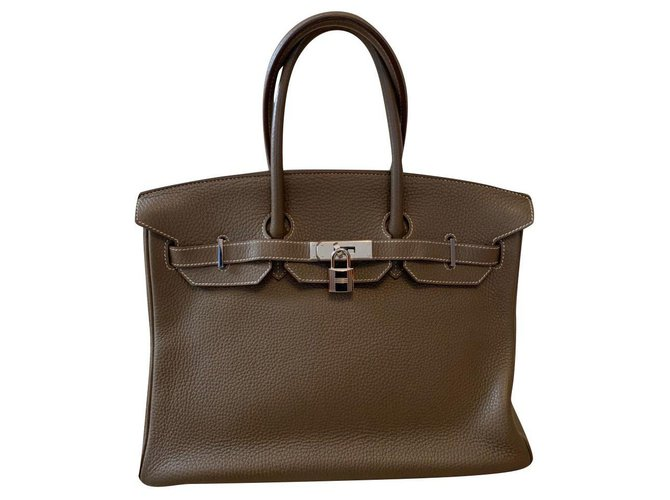 Hermès Hermes Handbags Leather Grey ref.165866
