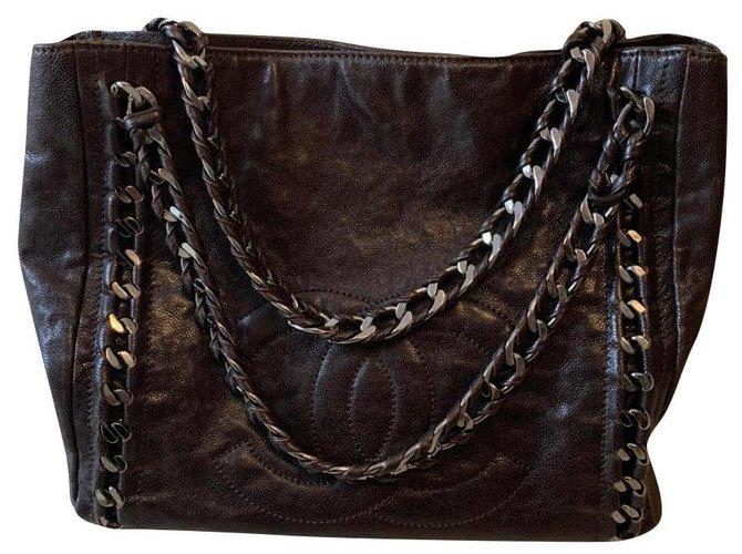 Sacs à main Chanel Chanel Cuir Marron foncé ref.165872