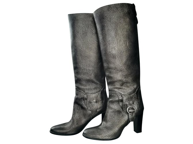 Céline Golden grained leather riding boots Boots Leather Silvery,Golden,Metallic ref.165965