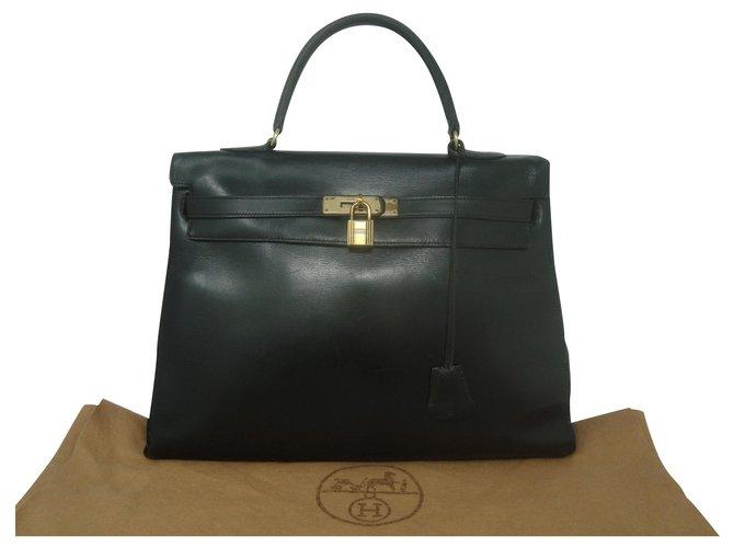 Hermès Kelly 35 Handbags Leather Black ref.166184