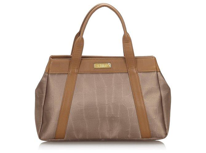 Chloé Chloe Brown Canvas Handbag Handbags Leather,Other,Cloth,Cloth Brown,Bronze ref.166205