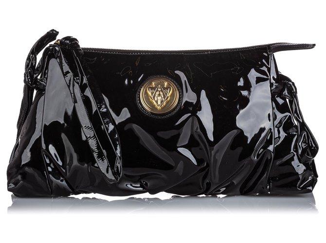 Pochettes Gucci Gucci Pochette Hysteria en cuir verni noir Cuir,Cuir vernis Noir ref.166231
