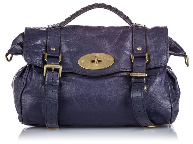 Mulberry Mulberry Blue Leather Alexa Satchel Handbags Leather,Other Blue,Dark blue ref.166261