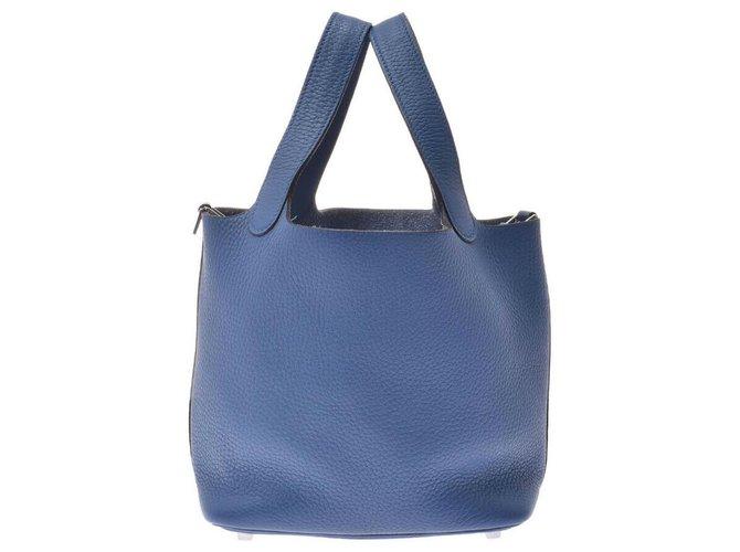 Hermès Hermès Picotin Lock PM Handbags Leather Blue ref.166284