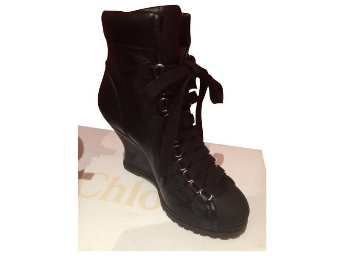 Chloé Ankle Boots Ankle Boots Leather Black ref.166321