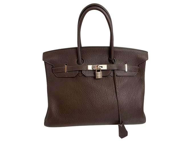 Hermès Hermes Handbags Leather Brown ref.166365