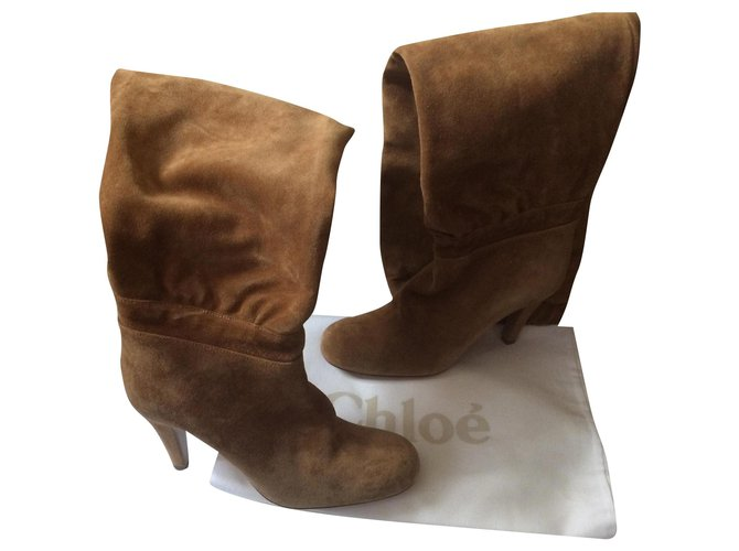Chloé Boots Boots Suede Caramel ref.166384