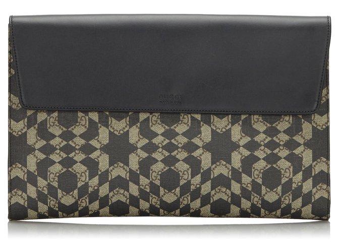 Pochettes Gucci Pochette Gucci Marron GG Caleido Cuir,Autre,Toile,Tissu Marron,Noir,Beige ref.166454
