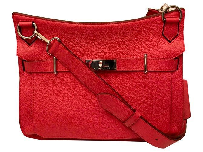 Hermès HERMÈS: JYPSIÈRE bag 33 cm Like New Handbags Leather Coral ref.166569