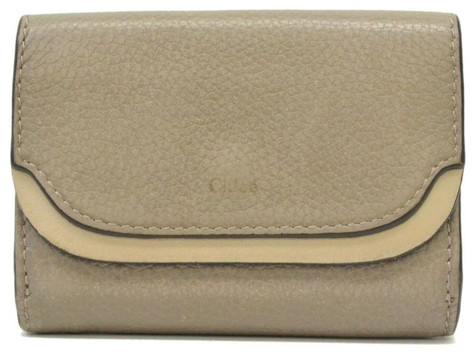 Chloé Chloé Leather Bifold Compact Purses, wallets, cases Leather Grey ref.166589