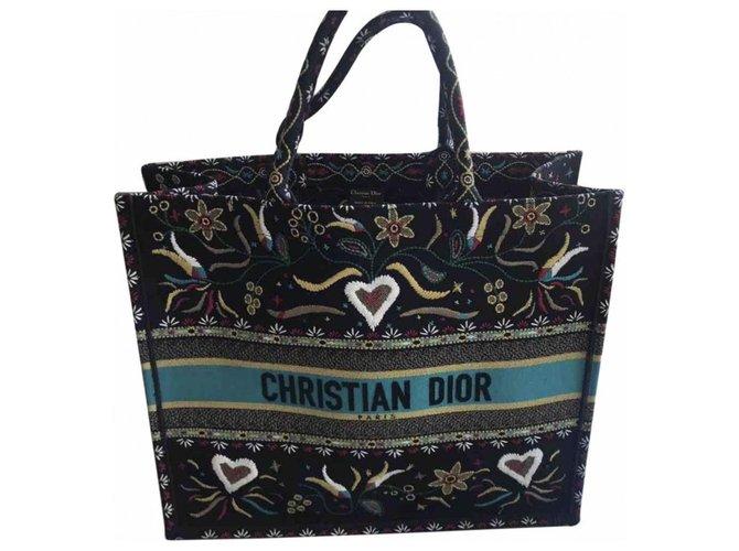 Dior Book Tote tote Handbags Cloth Black ref.166599
