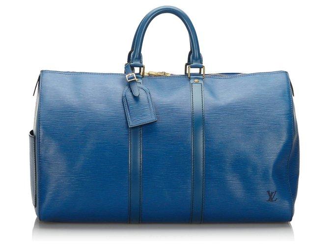 Sacs de voyage Louis Vuitton Louis Vuitton Blue Epi Keepall 45 Cuir Bleu ref.166726