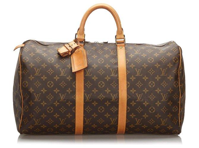 Sacs de voyage Louis Vuitton Louis Vuitton Keepall Monogram Brown 50 Cuir,Toile Marron ref.166736