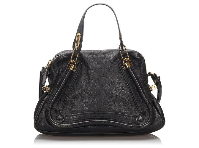 Chloé Chloe Black Leather Paraty Satchel Handbags Leather,Other Black ref.166740
