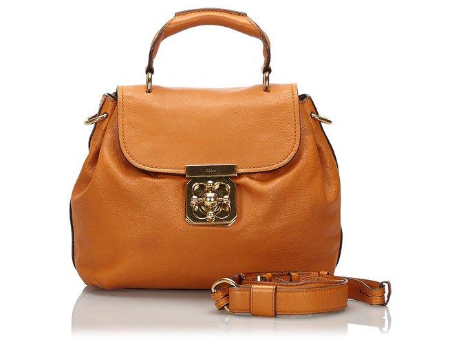 Chloé Chloe Brown Leather Elsie Satchel Handbags Leather,Other Brown ref.166769