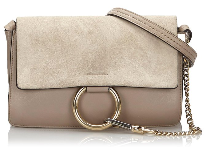 Chloé Chloe Gray Leather Faye Handbags Suede,Leather,Other Other,Grey ref.166770