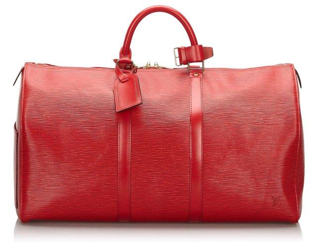 Sacs de voyage Louis Vuitton Louis Vuitton Rouge Epi Keepall 50 Cuir Rouge ref.166774