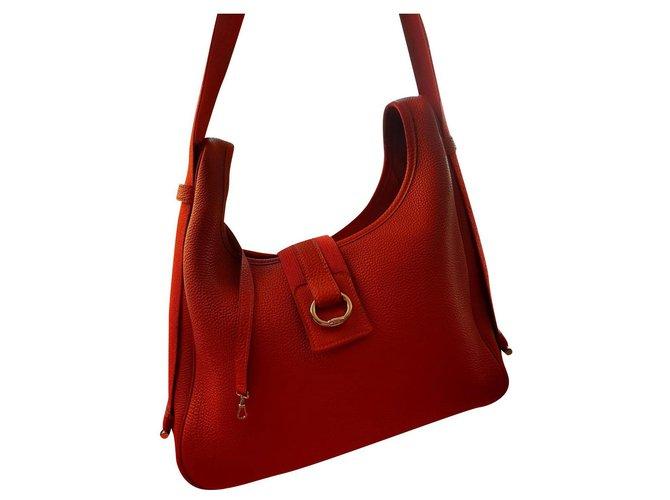 Hermès tsako Handbags Lambskin Red ref.166815
