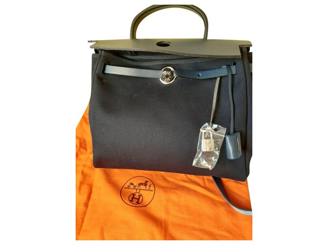 Hermès Herbag bag Handbags Cloth Dark blue ref.166821