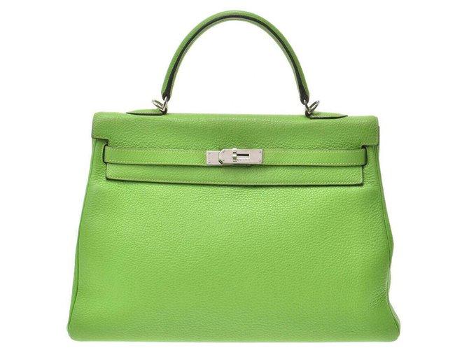 Hermès Hermès Vintage Handbag Handbags Leather Green ref.166940