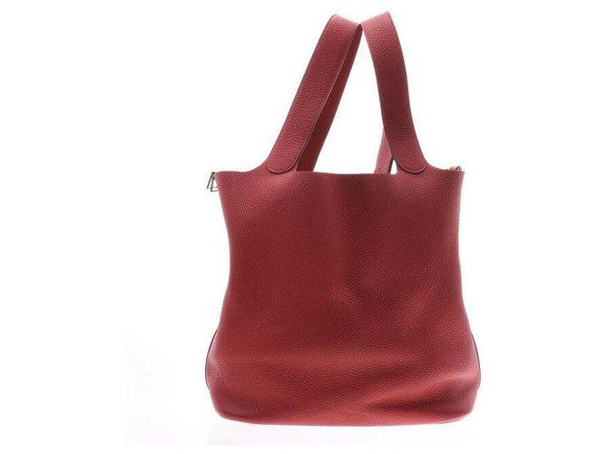Hermès Hermès Picotin Lock sizeM Handbags Leather Red ref.167116