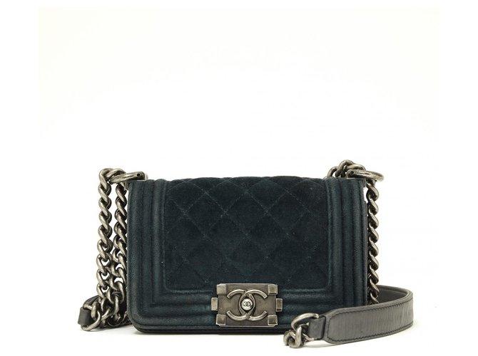 Chanel VELVET BOY MICRO Handbags Leather,Velvet Dark green ref.167127