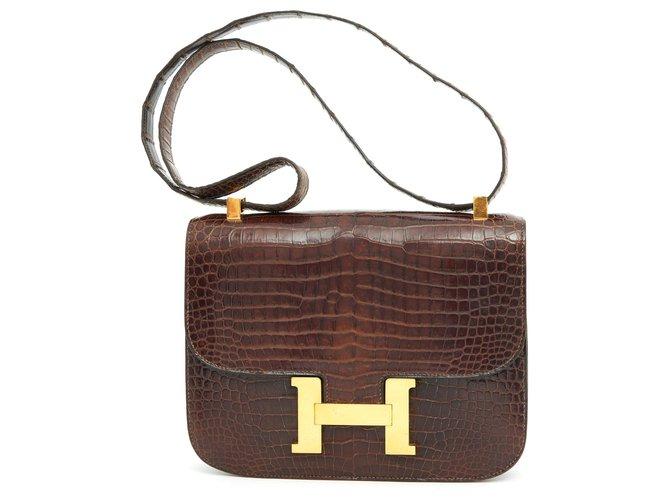 Sacs à main Hermès CONSTANCE CROCO BROWN Autre Marron ref.167162