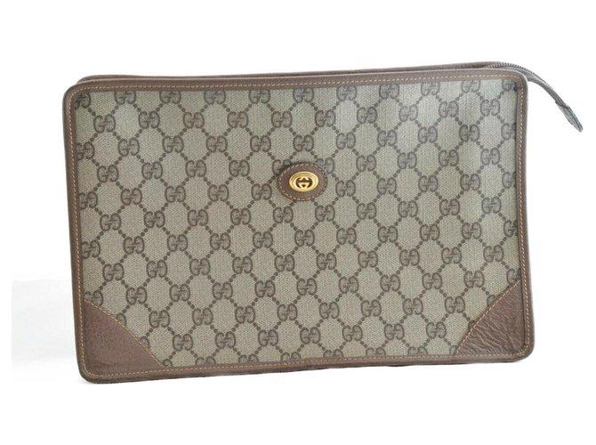 Pochettes Gucci Cuir PVC Gucci GUCCI GG Toile Marron ref.167232