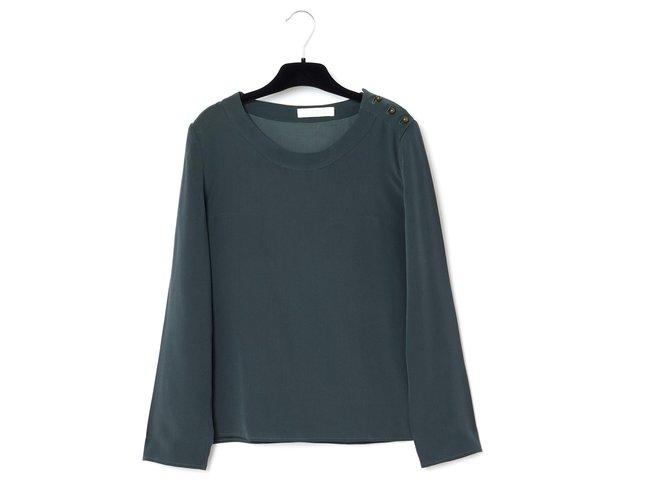 "Chloé dark gray silk fr ""-:"" _ Tops Silk Grey ref.167329"
