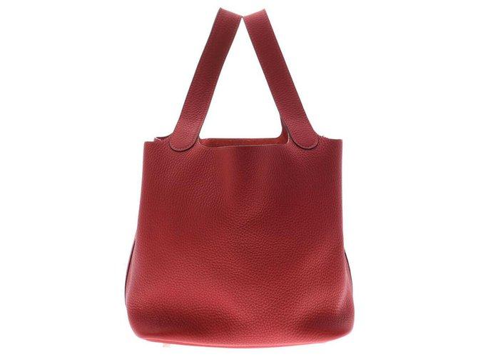 Hermès Hermès Picotan Lock MM Handbags Leather Red ref.167342