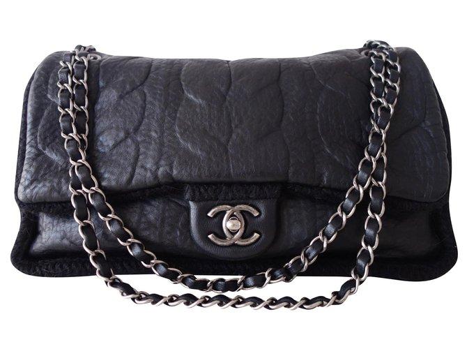 Sacs à main Chanel SAC CHANEL CLASSIQUE NOIR Cuir,Laine Noir ref.167384