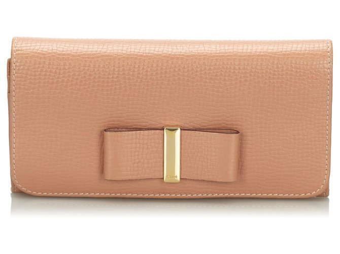 Chloé Chloe Brown Leather Lily Long Wallet Purses, wallets, cases Leather,Other Brown,Beige ref.167421