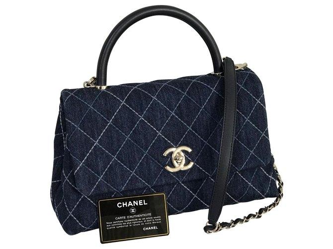 Sacs à main Chanel 2019 Poignée Coco 30 cm sac w / boîte, carte, Dustbag Cuir,Jean Bleu ref.167553