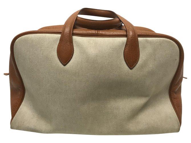 Hermès Hermès Victoria 45 Travel bag Cloth Beige ref.167574