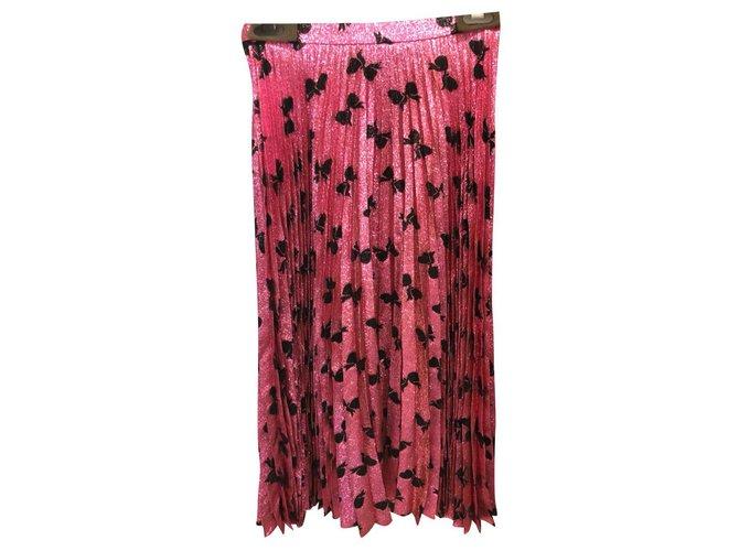 Jupes Gucci Jupe plissée pailletée rose Gucci IT42 Synthétique Rose ref.167594