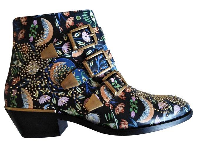 Chloé Susanna floral print Ankle Boots Leather Multiple colors ref.167620