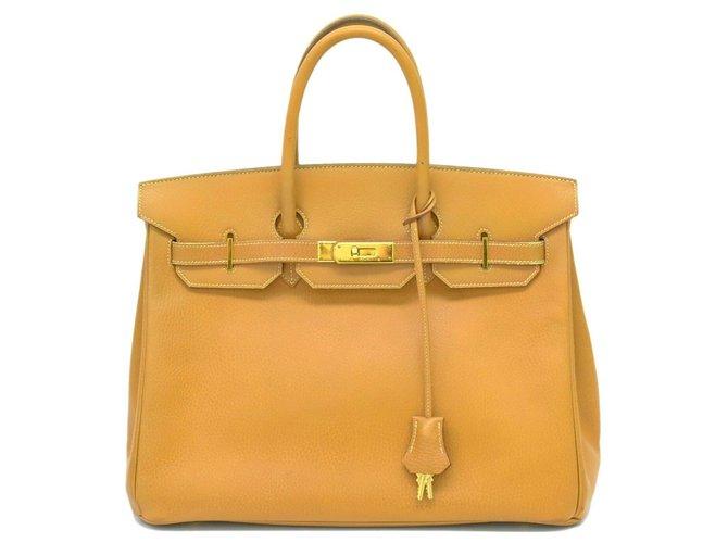 Hermès HERMES BIRKIN 35 Handbags Leather Golden ref.167630