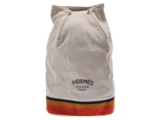 Hermès Hermès Vintage Backpack Backpacks Cloth Beige ref.167647