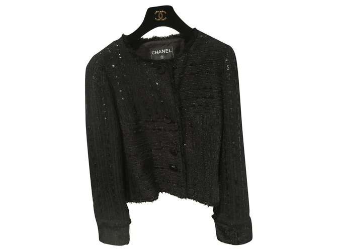 Chanel Jackets Jackets Cotton,Wool,Polyamide,Acrylic Black ref.167667