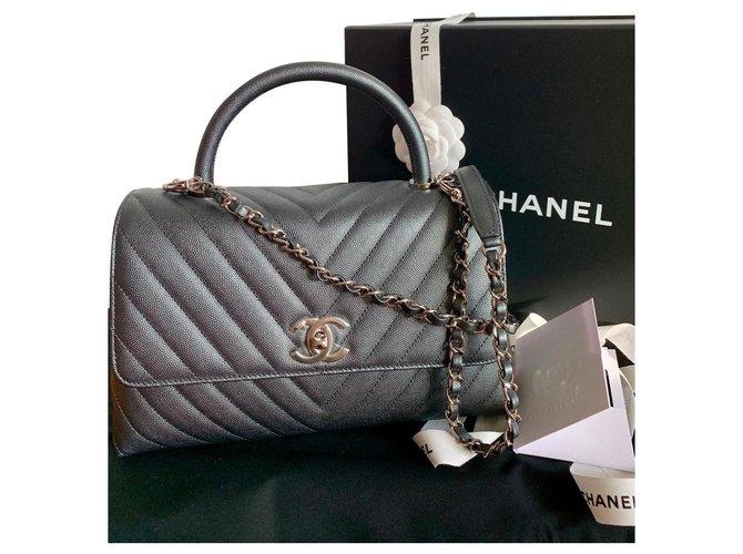 Sacs à main Chanel Poignée Coco Caviar Chevron SHW Cuir Gris anthracite ref.167687