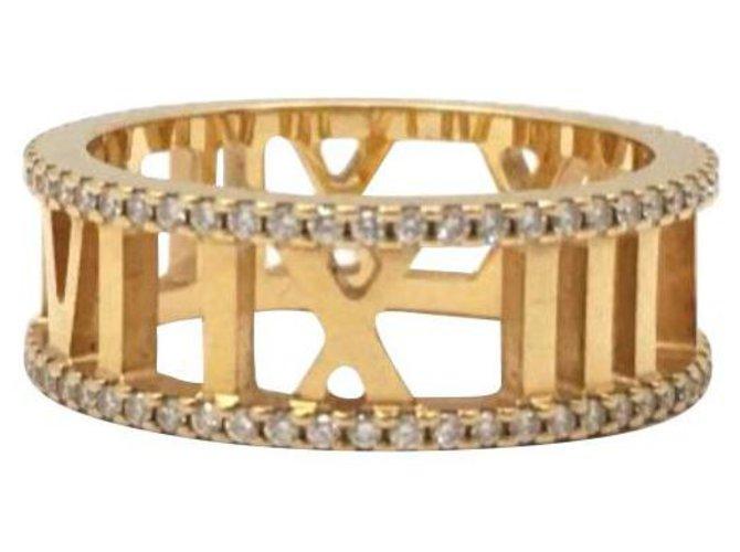 Bagues Tiffany & Co TIFFANY & CO 18Bague ouverte Atlas diamant en or rose K Or rose Doré ref.167700