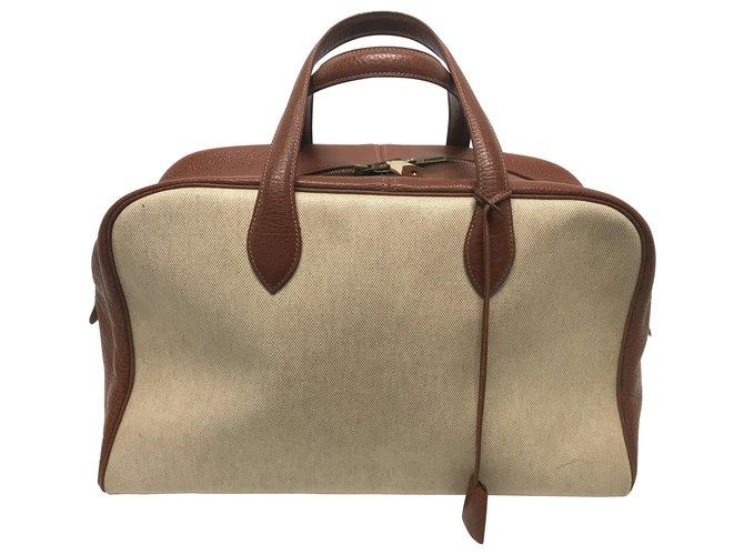 Hermès Hermès Victoria 45 Travel bag Cloth Beige ref.167709